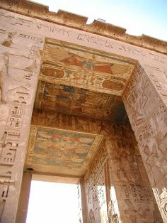 Medinet Habu is the name commonly given to the Mortuary Temple of Ramesses III, an important New Kingdom period structure in the location of the same name on the West Bank of Luxor in Egypt. Aside from its intrinsic size and architectural and artistic importance, the temple is probably best known as the source of inscribed reliefs depicting the advent and defeat of the Sea Peoples during the reign of Ramesses III.