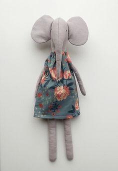 Doricica - Elephant doll Natural fabric elephant Soft elephant by Doricica