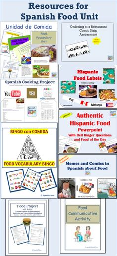 Over 10 ready to use lesson plans for Spanish Food Unit. Recursos de comida para la clase de espanol