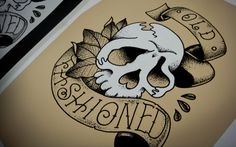 There is a beautiful synergy between tattoo art and silkscreen that I had not noticed before, where the half-tones are nicely achieved and in this particular case highlighted by the lighter tone of the skull. — BRYONY #forPrintOnly