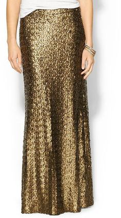Gold Sequin Maxi Skirt by BCBGMAXAZRIA. Buy for $198 from Piperlime