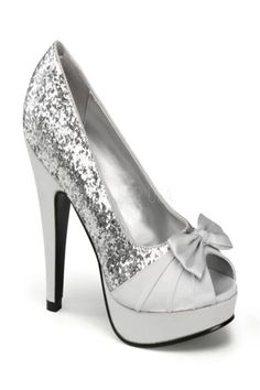 96dc24616e235d Pin Up Women s Bettie 10 Silver Glitter Satin - Overstock™ Shopping - Great  Deals on Pin Up Heels