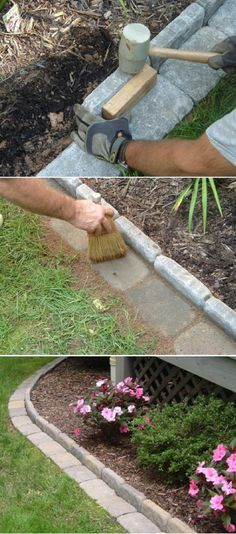 Edge your backyard flower beds! - 16 Low-Cost Backyard DIYs to Make This Summer | GleamItUp