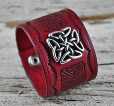 Celtic Warrior Leather Cuff by Northernleather on Etsy, $59.95