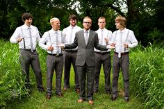 Groomsmen-in-Suspenders: This color combo could work well with the ties we have.