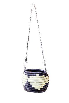 Navy & White Hanging Flower Pot Basket