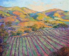 Large sized oil painting of California wine country scenery, with vineyards and rolling hills, in a colorful, expressionistic style.
