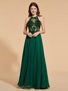 A Line Halter Prom Dress With Applique