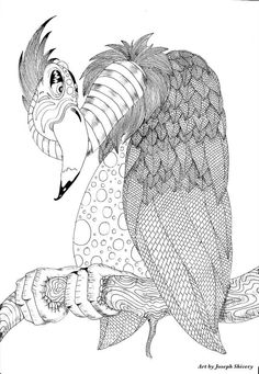 Art by Joseph Shivery Zentangle Buzzard Coloring pages colouring adult detailed advanced printable Kleuren voor volwassenen coloriage pour adulte anti-stress kleurplaat voor volwassenen Image for personal use only. Print, Color, and Post. https://www.facebook.com/groups/adultcoloringworldwide/
