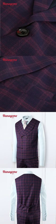 Discount Price 2016 New Wine Plaid Men Suits One-Buckle Suits Jacket Formal Men Suit Set Men Groom Suits (Jacket+Pants) SI13