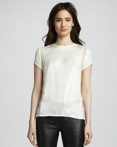 J Brand Ready to Wear Sontang Sheer-Inset Blouse - Neiman Marcus