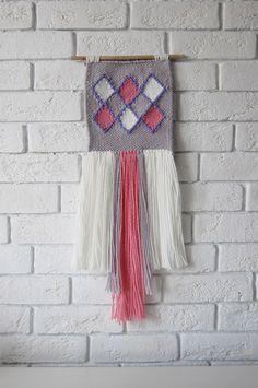 """Mini weaving wallhanding """"Geometry"""" twings woven wallart fiberart by weavinghouse on Etsy"""