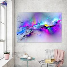 Hot Price HDARTISAN Oil Painting Wall Pictures For Living Room Home Decor Abstract Clouds Colorful Canvas Art Home Decor No Frame .more information please click the link Large Canvas Wall Art, Canvas Art, Canvas Prints, Big Canvas, Painting Canvas, Abstract Pictures, Wall Art Pictures, Painting Pictures, Painting Videos