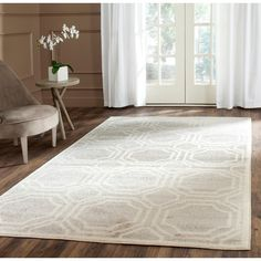 Safavieh Indoor/ Outdoor Amherst Light Grey/ Ivory Rug (8' x 10') - Overstock Shopping - Great Deals on Safavieh 7x9 - 10x14 Rugs