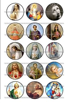Holy Card Christianity Catholic Saint  - Religious Art 30 images Bottle Cap 1 inch Circle image Digital Collage Sheet Printable download. $3.00, via Etsy.