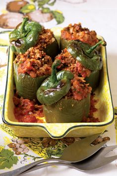 The Casserole for When You Want to Go Old School  Stuffed peppers were big in the '50s and '60s, but all these years later, we still love the novelty of getting an individually sized bell pepper neatly packed with savory stuffing on our plate.  Get the recipe: Mamaw's Stuffed Peppers  Read more: http://www.oprah.com/food/Casserole-Recipes-Casserole-Dishes/4#ixzz2aI3HANBT