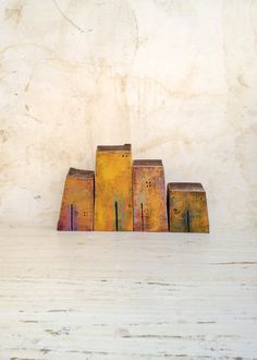 set of 4 ceramic houses  made in high fired by VesnaGusmanClayArt