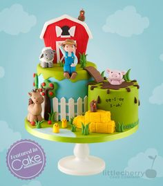 Farm cake farm / barn - cakes, cupcakes & cookies in 2019 то Farm Birthday Cakes, Farm Animal Birthday, 2nd Birthday, Birthday Ideas, Farm Animal Cupcakes, Animal Cakes, Mcdonalds Birthday Party, Barn Cake, Novelty Cakes
