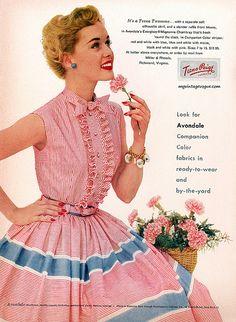 50s pink blue shirtwaist day shirt dress button front sleeveless print ad Teena Paige 1953 | Flickr - Photo Sharing!