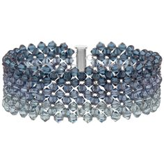 Faded Denim Bracelet | Fusion Beads Inspiration Gallery | Love the ombre effect of these crystals. | Pantone Stormy Weather