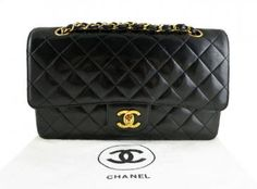 "Chanel Black Patent Leather 10"" Medium Classic 2.55 Flap Bag"
