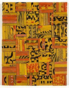 'Tesserae 4' (1989) by New Zealand-born, Australian-based artist Rosalie Gascoigne (1917-1999). Sawn/split soft drink crates on plywood, 46.5 × 36 cm. via roslyn oxley9 gallery