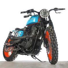 On BikeBound.com: The Pigster, aka Dirty Sportster, by @shawspeed. Inspired by Steve McQueen and 70s Gulf Racing livery! #harleydavidson #sportster #xl1200 #scrambler #stevemcqueen #gulfracing