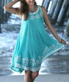 Look at this Sea Green Sleeveless Dress - Women on #zulily today!