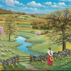 Longing for Nature … ❤ - Malerei Beautiful Paintings, Beautiful Landscapes, Landscape Art, Landscape Paintings, Images D'art, Farm Art, Country Art, Naive Art, Art Pictures