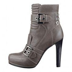 #FootGift #bottine femme grise en cuir a talon haut avec des boucles et un bout rond: #Chaussures