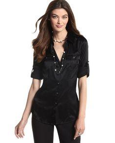 Women'S Black Silk Blouse