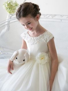 Ivory Satin Embroidered Lace Waistline Tulle Flower Girl Dress (Sizes 2-12 In 5 Colors)