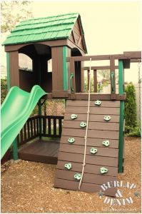Stain a Wood Playset to Make it Look New Again