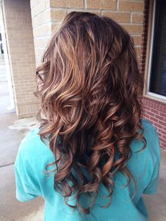 Brunette with blonde, red and copper highlights. Great for fall!