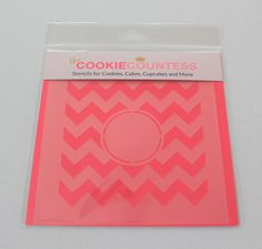 CHEVRON MONOGRAM STENCIL, Cookie Countess, Cookie Stencil/Cupcake Stencil  Cookie Countess Stencil for Cookies, Cakes, Cupcakes, and more  SIZE: Approximately 5.5 x 5.5. PINK sections in image are the open sections. Stencils are 5mil Food Grade plastic, washable and reusable.  Made in the USA!! Great for Cupcakes, Cookies, Stenciling on Fondant, Etc