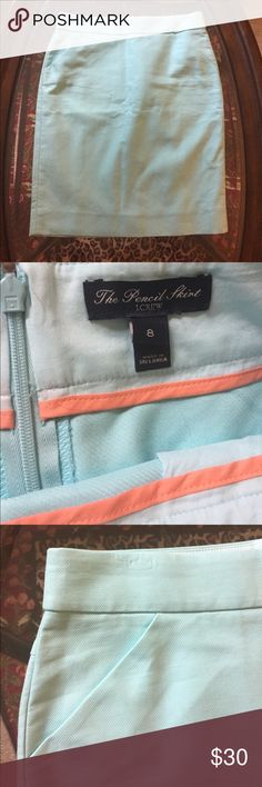 NWOT • J. Crew • The Pencil Skirt in Mint Blue Not sure if the exact color name but I would describe it as a mint/Tiffany blue! Never been worn, in perfect condition. • • Reasonable offers welcome, no trades please. • • Closet will be cleared out at the end of June before my move! J. Crew Skirts Pencil
