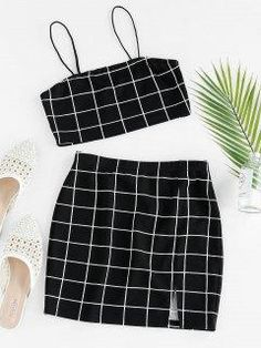 Two Piece Outfits Girls Fashion Clothes, Teen Fashion Outfits, Girl Fashion, Girl Outfits, Trendy Fashion, Gothic Fashion, Cute Casual Outfits, Summer Outfits, Jugend Mode Outfits