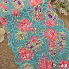 10 yards 8-7/8' Wide Multi-color stretch Polyester Embroidery Lace Trimming Clothes Craft Supply -- Click image to review more details.
