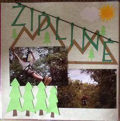 Scrapbook layout for Zipline in Jamaica