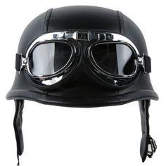 NEW-German-Leather-Half-Helmet-DOT-Motorcycle-Cruiser-Helmet-with-Pilot-Goggles
