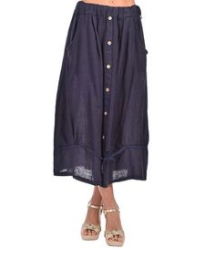Love this Navy Blue Linen Button-Front Skirt - Plus Too on #zulily! #zulilyfinds