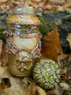 Greenman apothecary herb jar. Handcrafted of polymer clay.  www.Patreon.com/TheMidsummersNightMasquerade