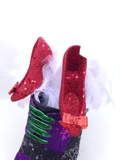 Wicked Witch of the West and Ruby Red Slipper Glitter Shoe Folk Art by GlitterBuzzNOLA on Etsy