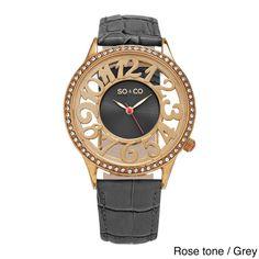 SO&CO New York Women's Quartz Swarovski Crystal Leather Strap Watch