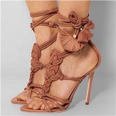 Shoespie Elegant Knot Ankle Wrap Sandals