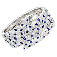 CARTIER Sapphire Diamond 'Panther' Bracelet <3