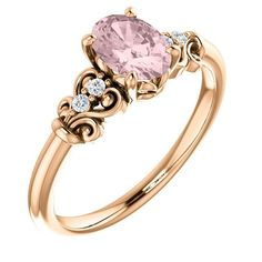14K Rose Gold 7x5mm Oval Morganite & .04 CTW Diamond Ring