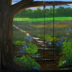 Tree Swing Painting Original Country  Art by SoftSpokenTexasGal