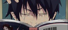 rin okumura funny gif - Pesquisa Google Ummmmmm he's reading blue exorcist manga lol.