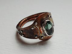 Sterling silver, copper and tourmaline ring Design&Handmade by K.Tokar